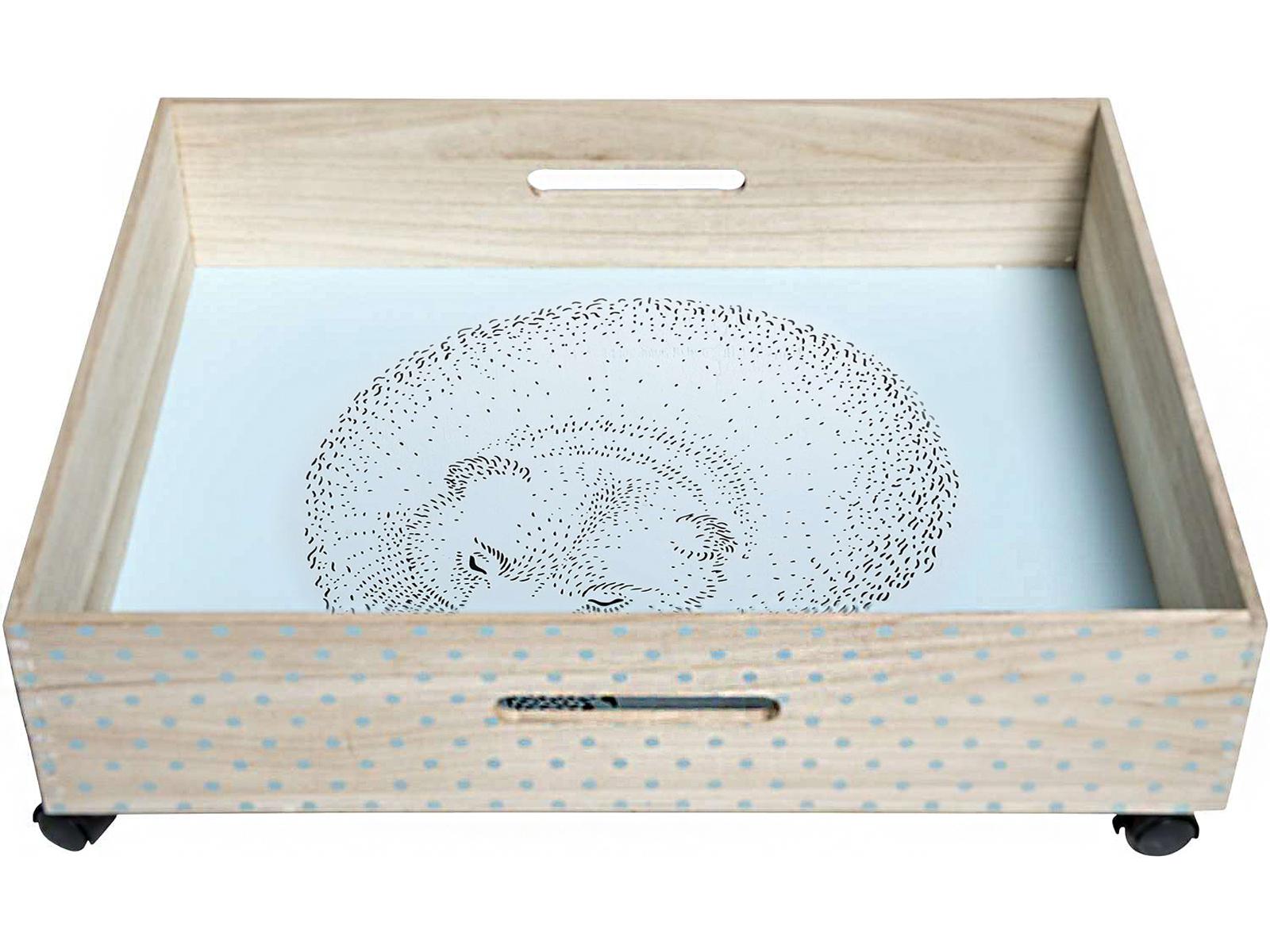 bloomingville spielzeugaufbewahrung bettkasten mit rollen b r blau. Black Bedroom Furniture Sets. Home Design Ideas
