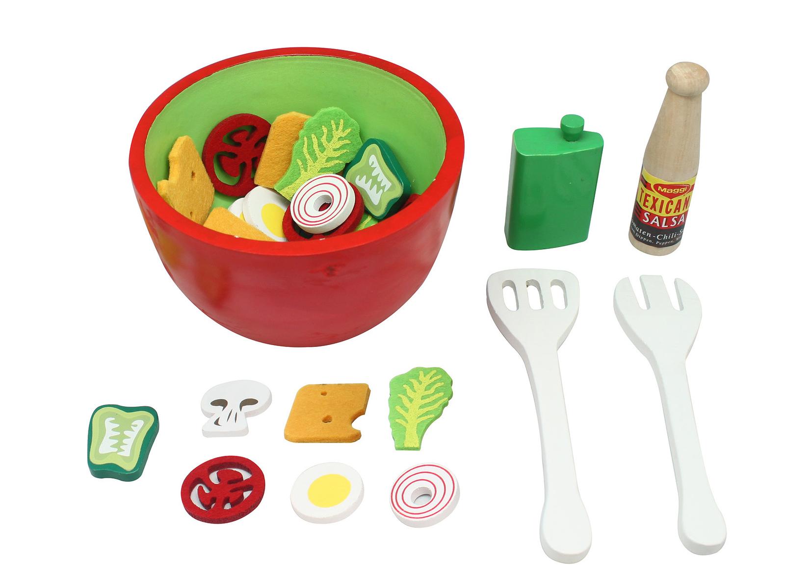 Magni Kinder Salatschüssel mit Essig und Öl Salat Spielset aus Holz