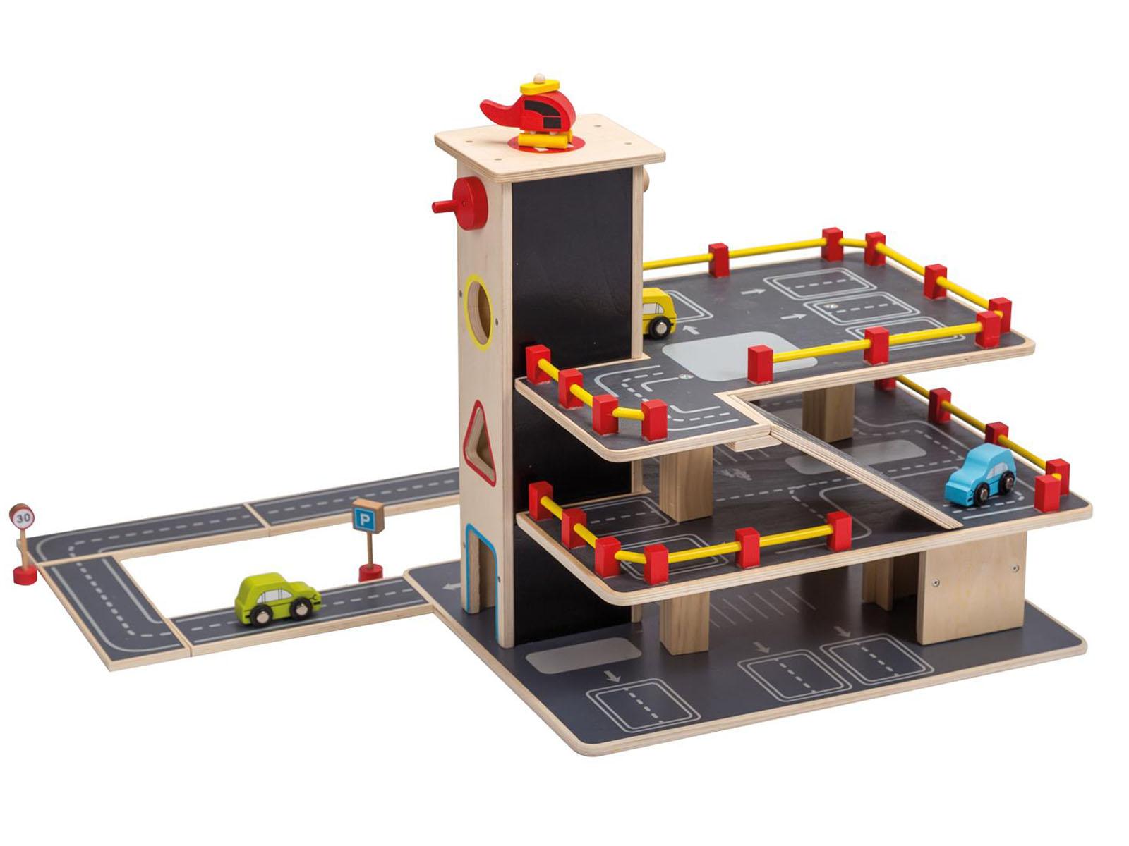 jou co kinder auto garage parkhaus aus holz mit autos und viel zubeh r. Black Bedroom Furniture Sets. Home Design Ideas