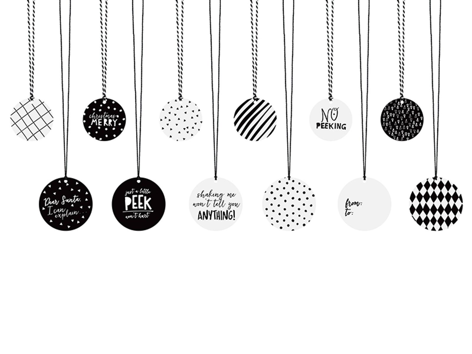geschenkeanh nger weihnachten schwarz weiss mit kordeln 12 st ck. Black Bedroom Furniture Sets. Home Design Ideas
