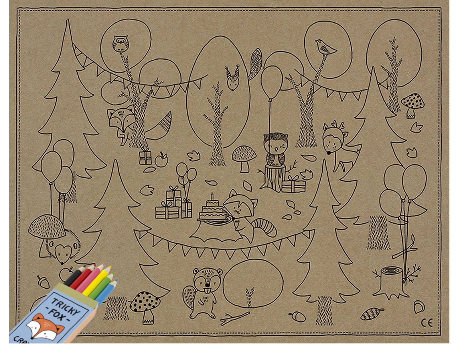 Tischsets Ausmalbilder Malvorlage mit Stiften Woodland Waldtiere