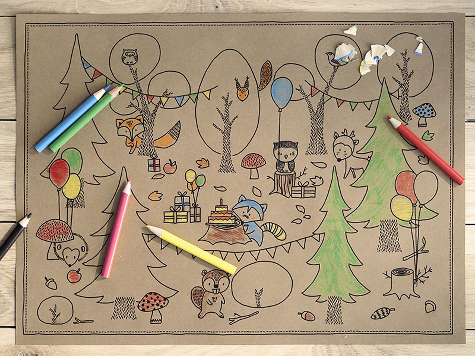 Ausmalbilder Geburtstag 49 : Tischsets Ausmalbilder Malvorlage Mit Stiften Woodland Waldtiere 6